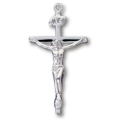 Sterling Silver 1in INRI Crucifix 18in Necklace