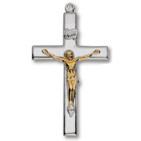 Sterling Silver 1 3/8in Latin Crucifix 24in Necklace