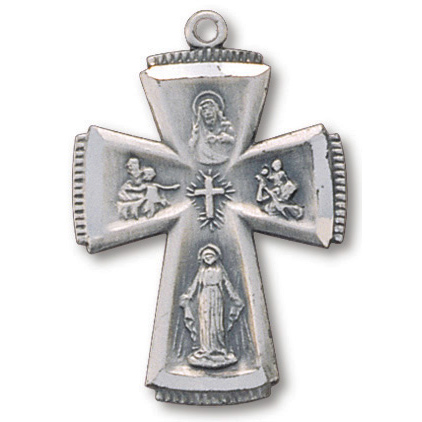 Sterling Silver 1 1/4in Four Way Cross 24in Necklace