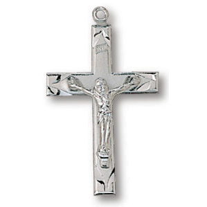 Sterling Silver 13/16in Scalloped Crucifix 18in Necklace
