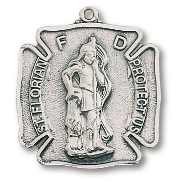 Sterling Silver 1in St Florian Fireman Shield on 24in Steel Chain