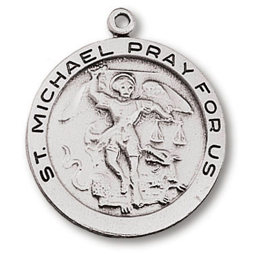 Sterling Silver 1in Round Saint Michael Medal 24in Necklace