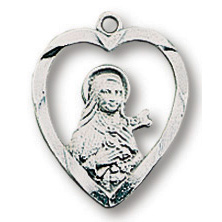 Sterling Silver 5/8in Saint Therese Heart 18in Necklace