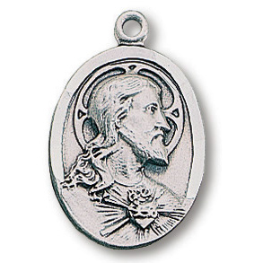 Sterling Silver 3/4in Oval Scapular Medal 24in Necklace