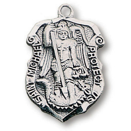 Sterling Silver 3/4in Saint Michael Police Shield 18in Necklace