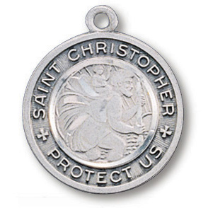 Sterling Silver 3/4in St. Christopher Protect Us Medal on 18in Steel Chain
