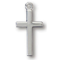Sterling Silver 1/2in Cross 18in Necklace
