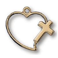 14kt Yellow Gold Filled 7/16in Heart Cross 18in Necklace
