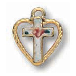 14kt Yellow Gold Filled 5/16in Heart Stone Cross 16in Necklace