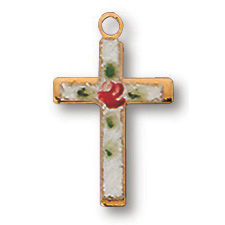 18kt Yellow Gold Plated 9/16in Latin Stone Cross 18in Necklace