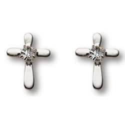 Sterling Silver 3/8in Crystal Cross Earrings