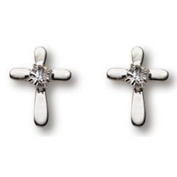 Sterling Silver 3/8in Crystal Cross Earrings