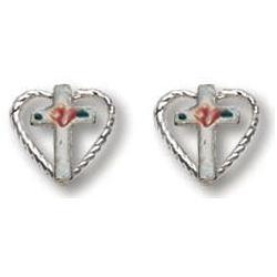 Sterling Silver 5/16in Heart Cross Earrings