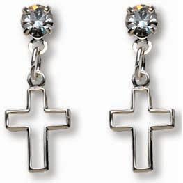 Sterling Silver 3/4in Crystal Cross Dangle Earrings