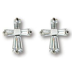 Sterling Silver 7/16in Baguette CZ Cross Earrings