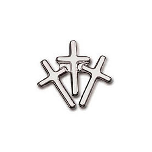 Sterling Silver 7/16in Triple Cross Tie Tac