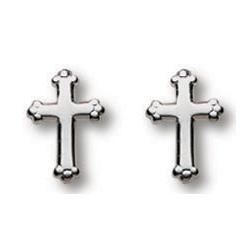 Sterling Silver 3/8in Budded Cross Earrings
