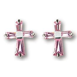 Sterling Silver 7/16in Rose CZ Cross Earrings