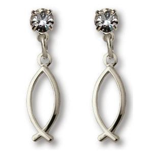 Sterling Silver 7/8in Crystal Fish Dangle Earrings