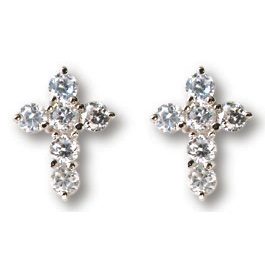 Sterling Silver 7/16in Round CZ Cross Earrings