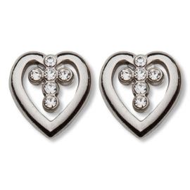 Sterling Silver 3/8in CZ Heart Cross Earrings