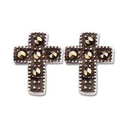 Sterling Silver 5/16in Marcasites Cross Earrings
