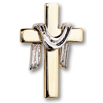 Gold Plated Silver Robe Cross Lapel Pin Set of Two