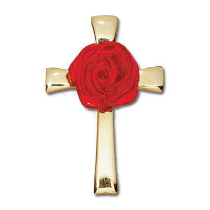 Gold Plated Memorial Cross Lapel Pin Set of Two