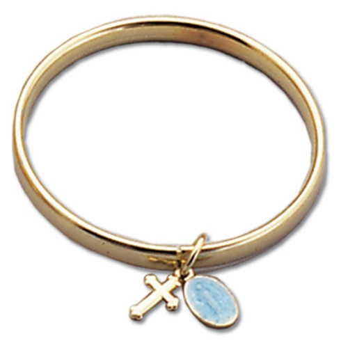 Catholic Baby Bracelet with Cross and Miraculous Medal