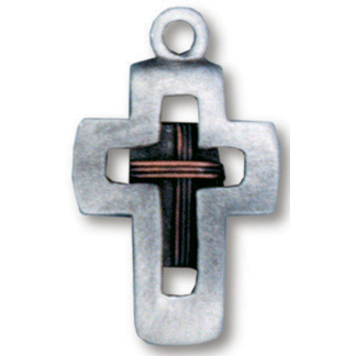 Pewter Cross with Copper Crosswire Necklace 18in