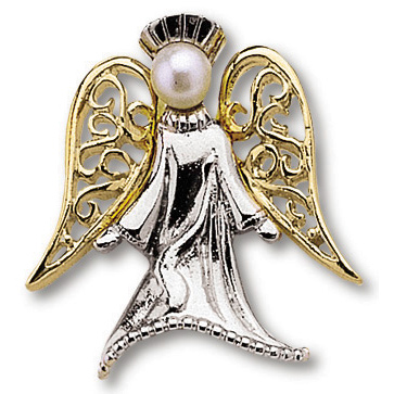 Gold Plated Pearl Angel Lapel Pin Set of Two