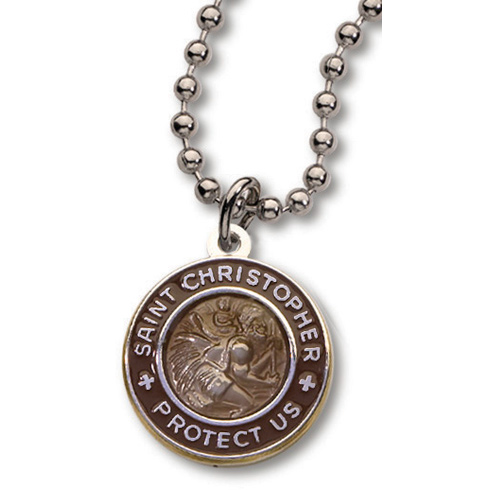 18 Inch Coffee Brown St. Christopher Necklace Two Pack