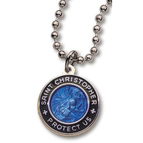 Dark Blue and Black St. Christopher 18in Necklace Two Pack
