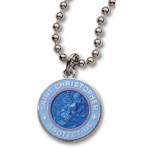 18 Inch Powder Blue St. Christopher Necklace Two Pack