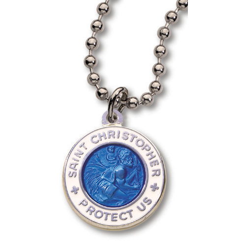 18 Inch Dark Blue and White St. Christopher Necklace Two Pack