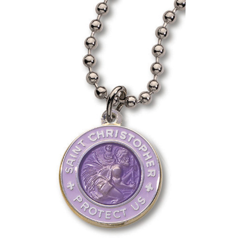 Silver-Plated 3/4in Purple St. Christopher 18in Necklace Two Pack