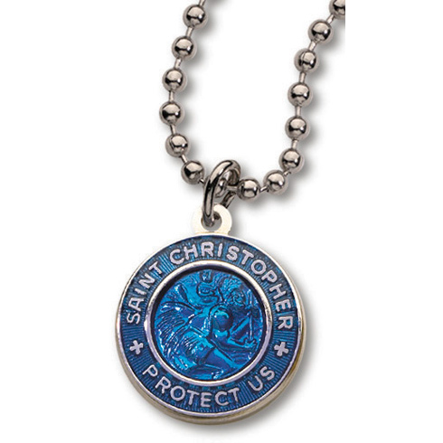 Silver-plated Electric Blue St. Christopher 18in Necklace Two Pack