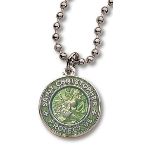 18 Inch Light Green St. Christopher Necklace Two Pack