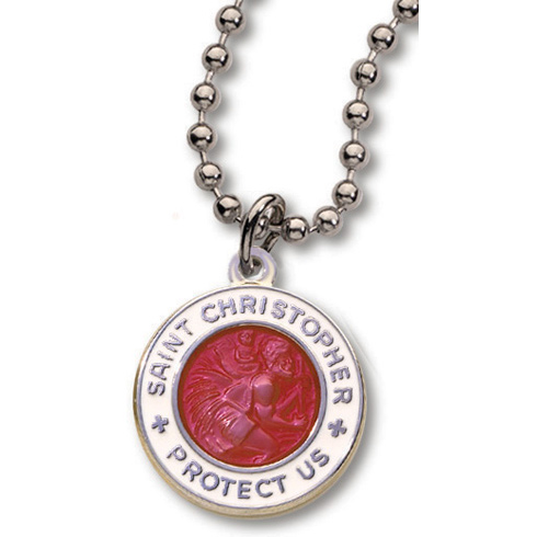 18 Inch Red and White St. Christopher Necklace Two Pack