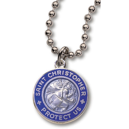 18 Inch Royal Blue St. Christopher Necklace Two Pack