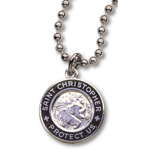 18 Inch Silver and Black St. Christopher Necklace Two Pack