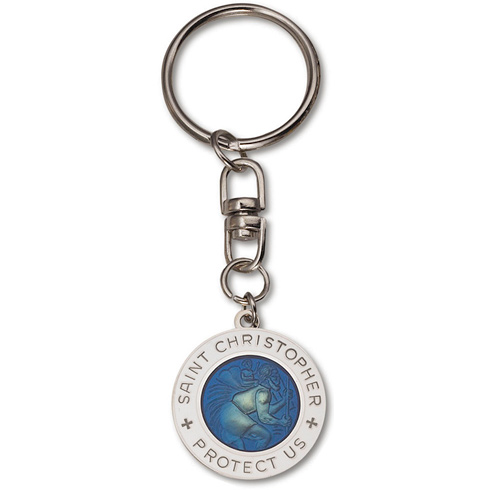 St. Christopher Blue and White Medal Key Ring Two Pack