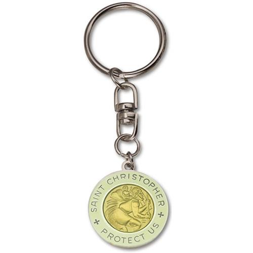 St. Christopher Luminous Medal Key Ring Two Pack