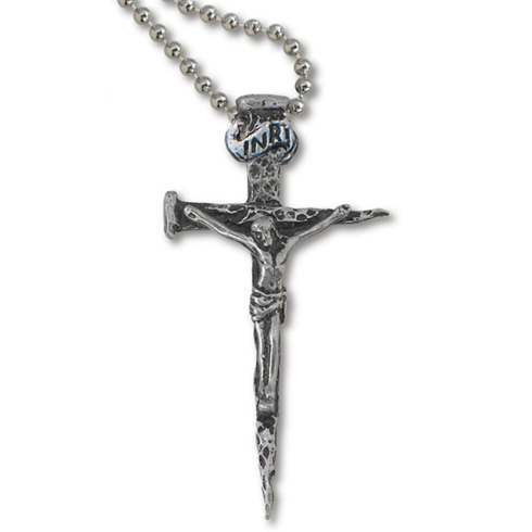 Genuine Pewter 2in Passion Crucifix 24in Necklace
