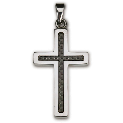 Stainless Steel 1 1/2in Carbon Fiber Cross 18in Necklace