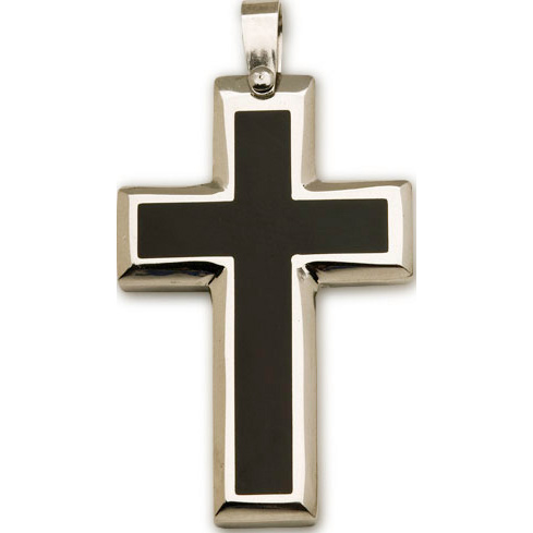 Stainless Steel 1 3/8in Two-Tone Latin Cross 24in Necklace