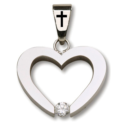 Stainless Steel 3/4in Heart with Cross Bail 18in Necklace