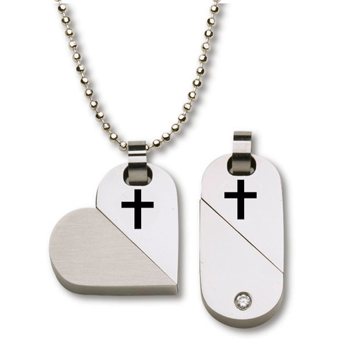 Stainless Steel Two in One Heart Cross 18in Necklace