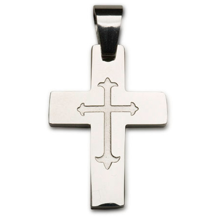 Stainless Steel 1 1/8in Engraved Cross 24in Necklace