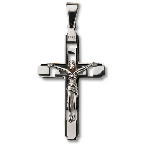 Stainless Steel 1 3/4in Cut-Out Crucifix 24in Necklace